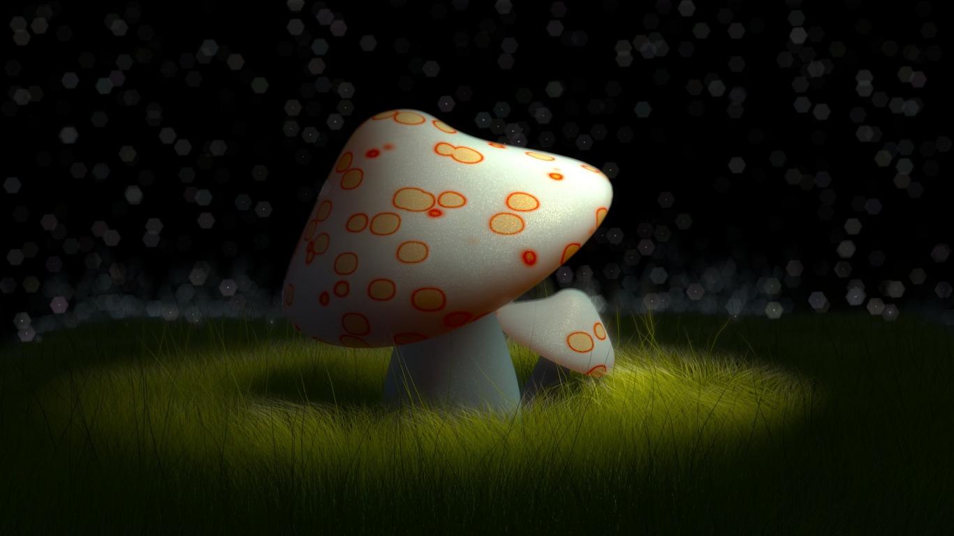 Обои грибы 3d на рабочий стол