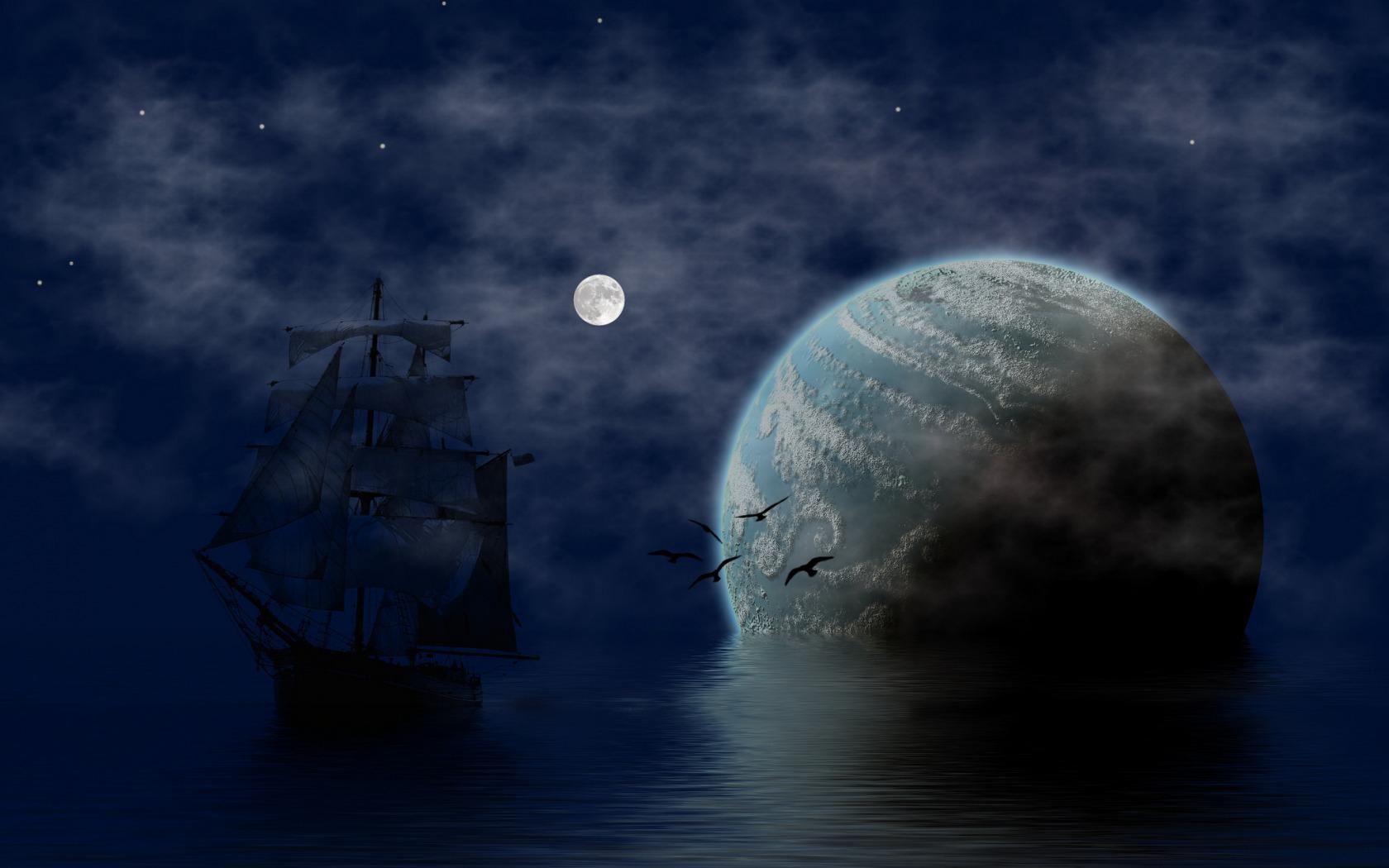 обои для рабочего стола корабли ночь № 455755 без смс