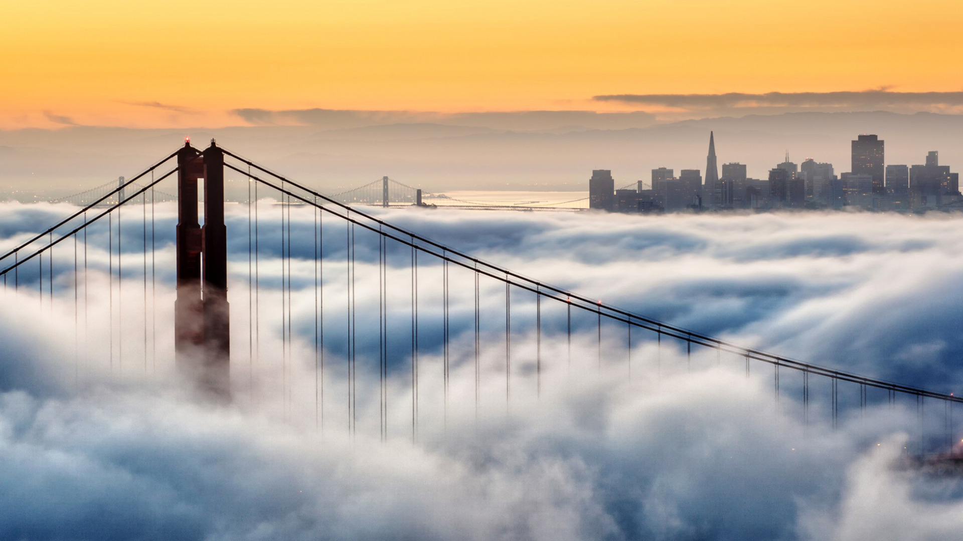 Туман город обои для рабочего стола