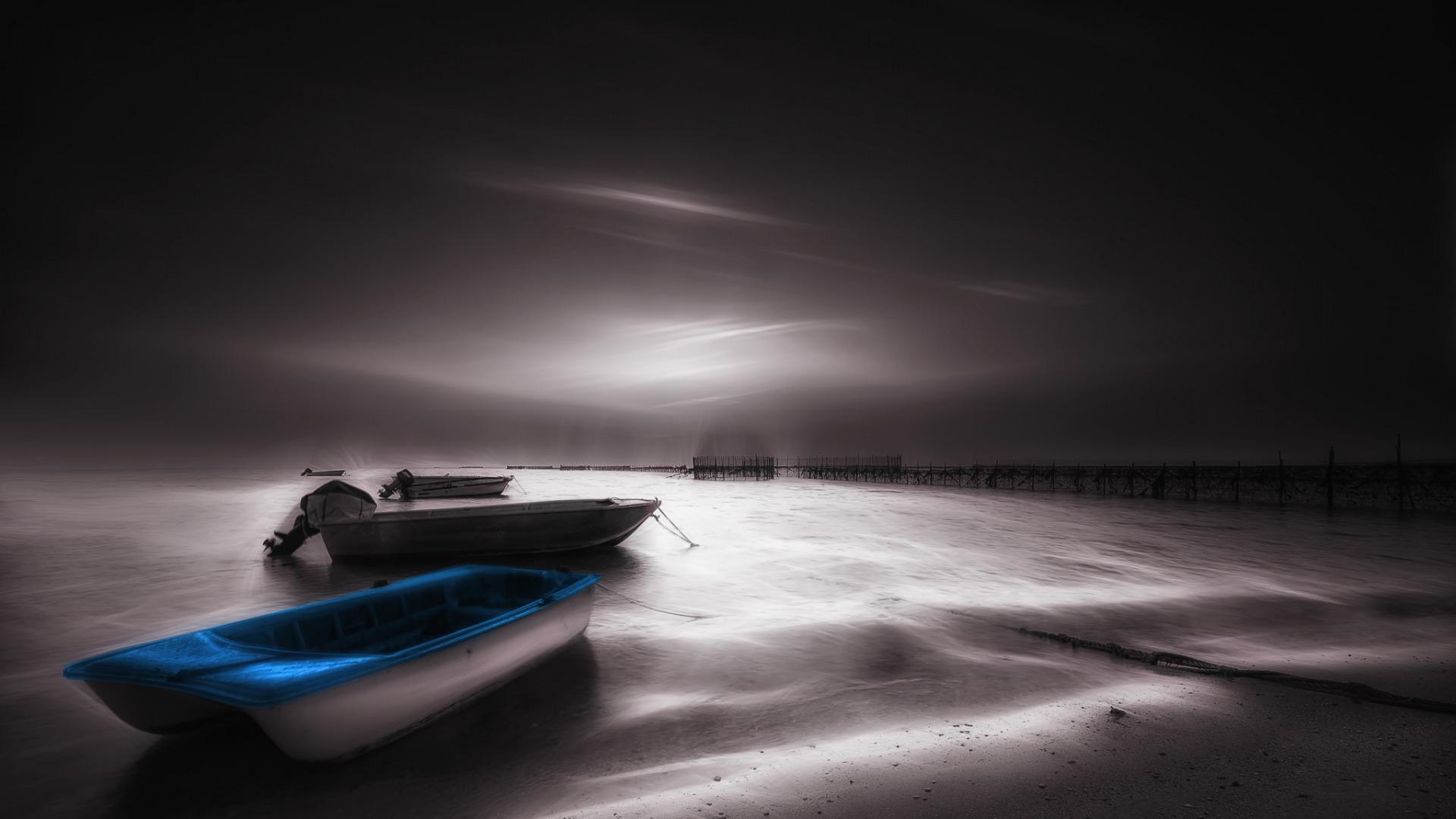 лодки ночь  № 3506443 бесплатно