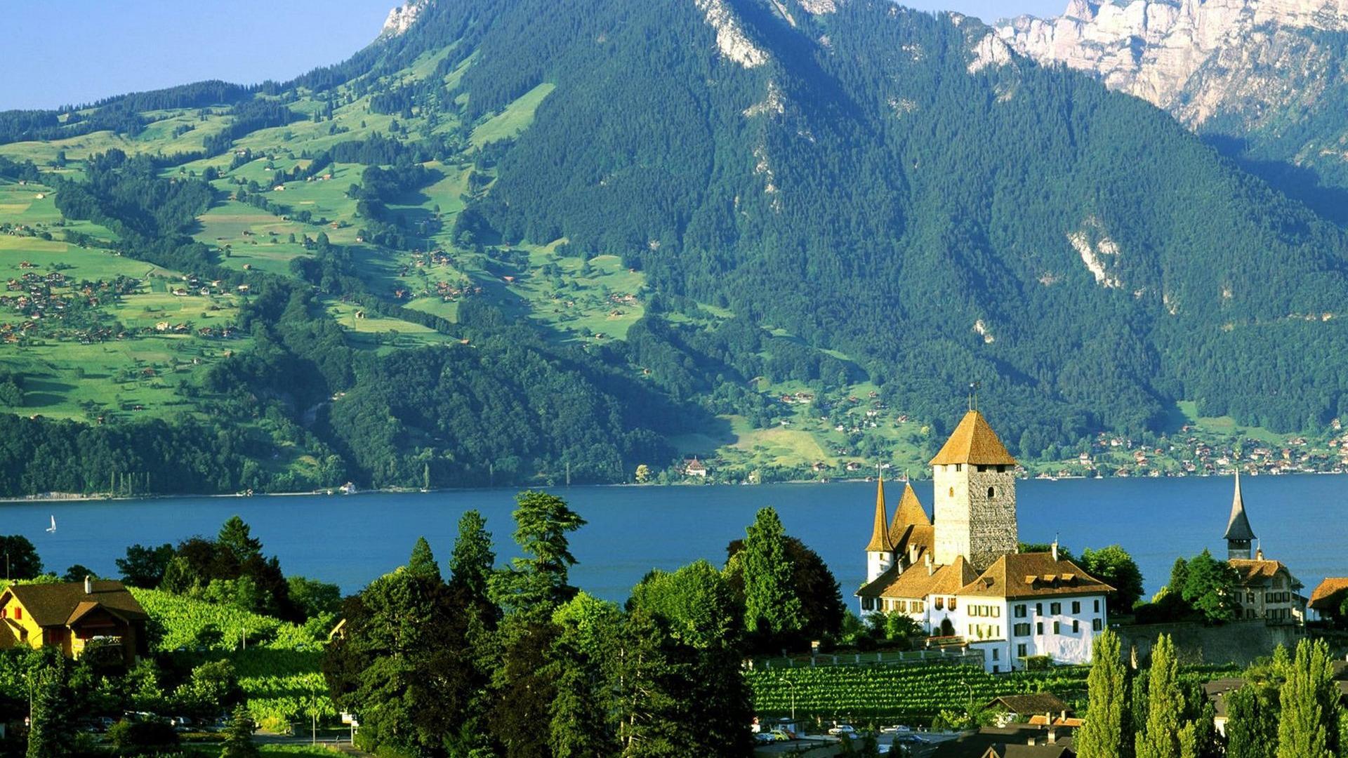 Замок швейцария вечер  № 2569390 загрузить
