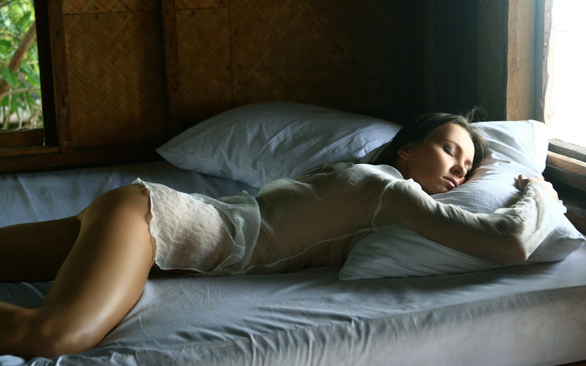 девушка, миленькая, небесное создание, тело, бельё, поза, спит, постель, ок