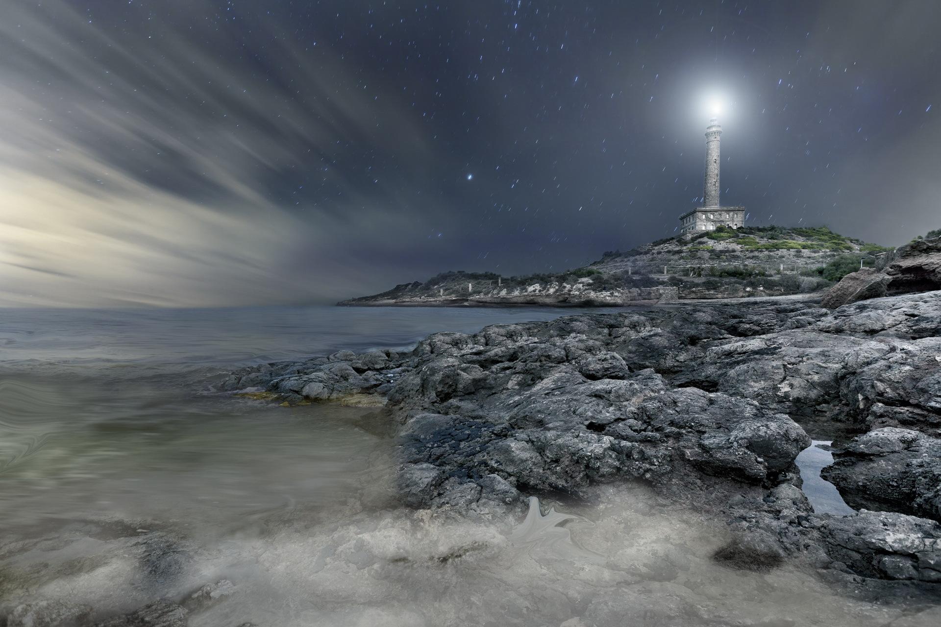 lighthouse at night - HD1680×1050
