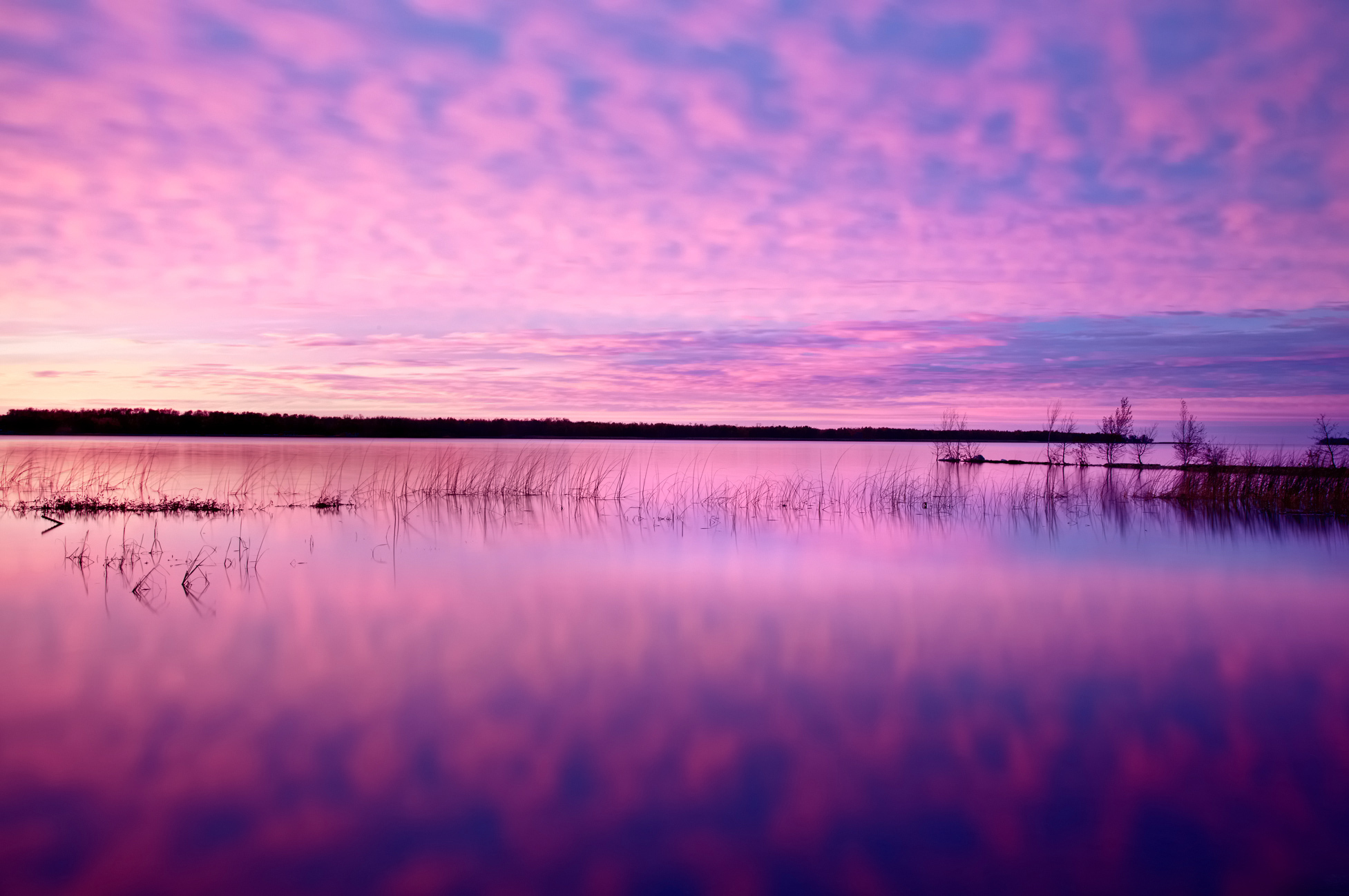 закат озеро небо трава  № 3878905 загрузить