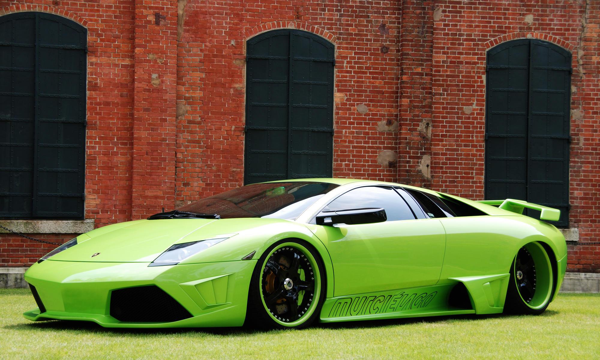спортивный зеленый автомобиль Lamborghini  № 2996317 загрузить