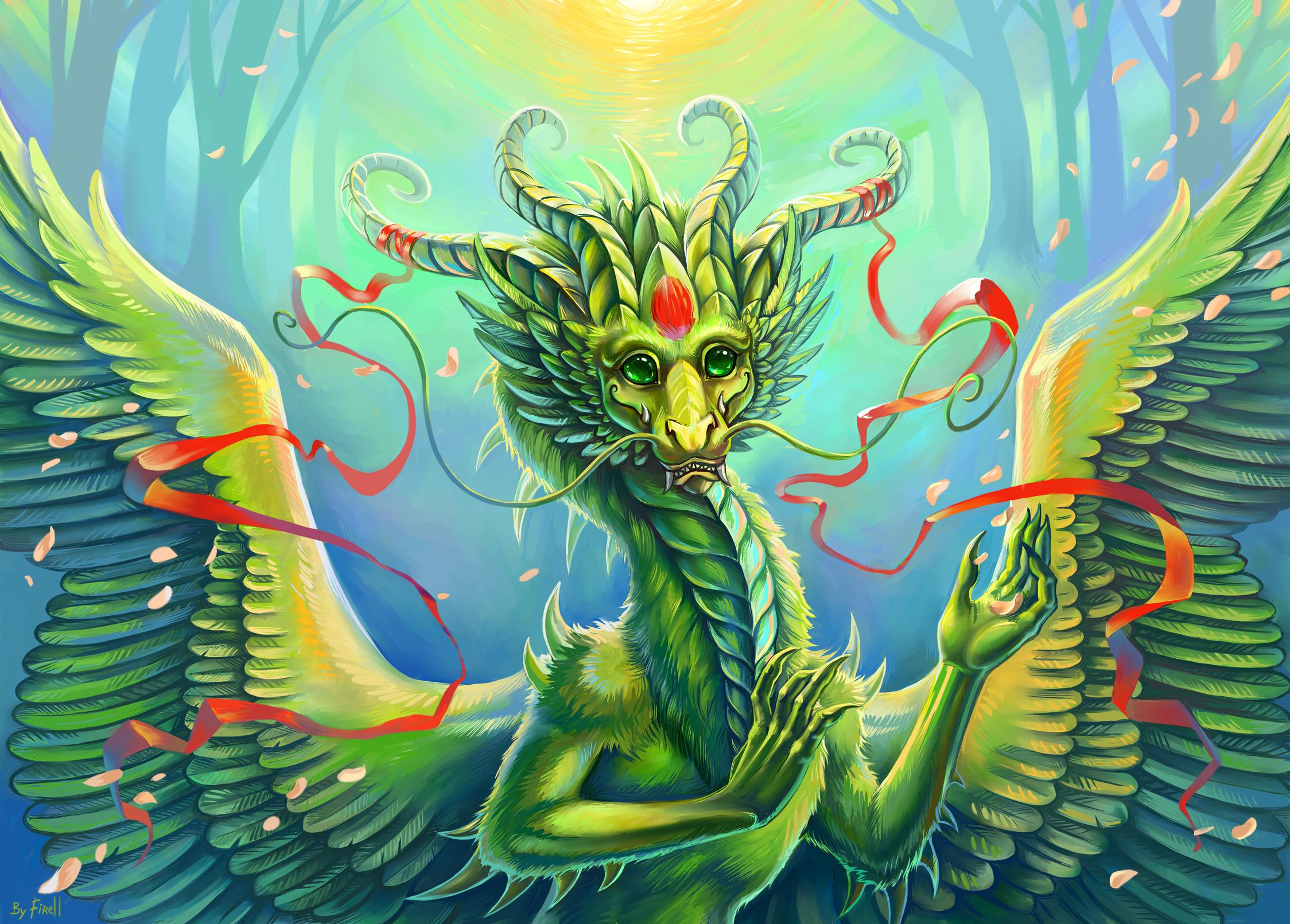 Нарисованый фэнтезийный зеленый дракон  № 3349260 загрузить