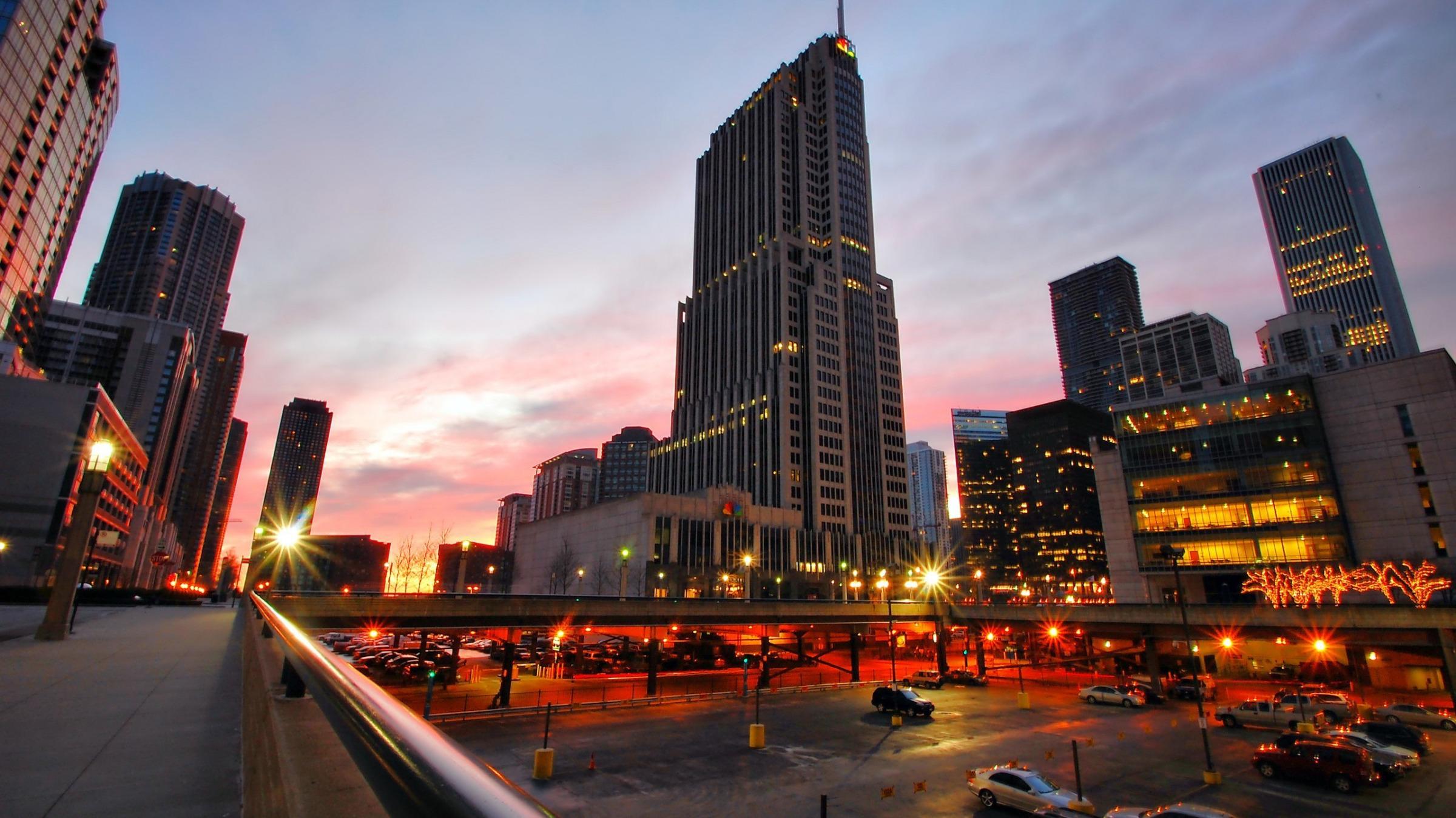 Ночной порт в Чикаго  № 3504502  скачать