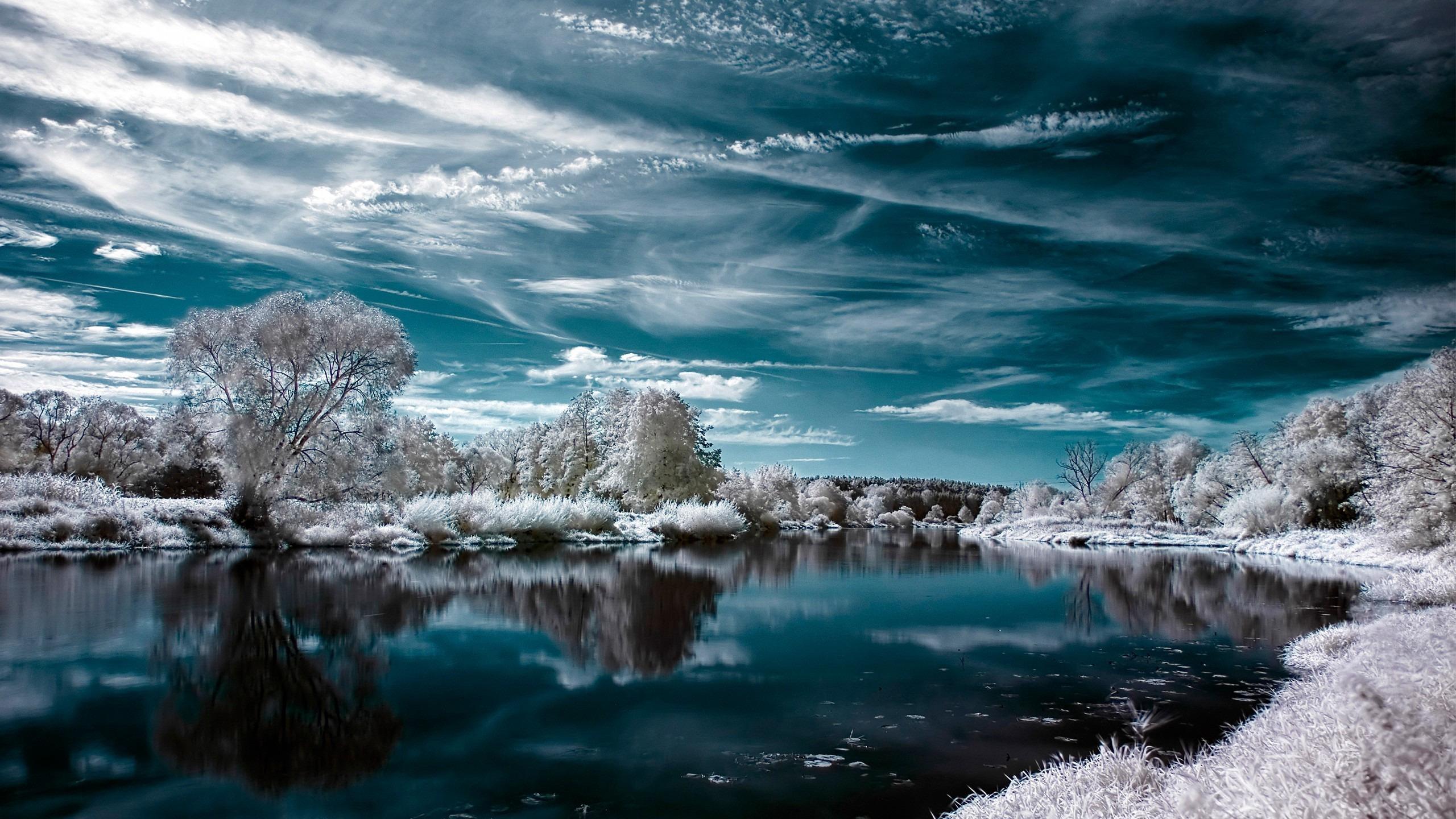 озеро зима иней the lake winter frost  № 580101 бесплатно