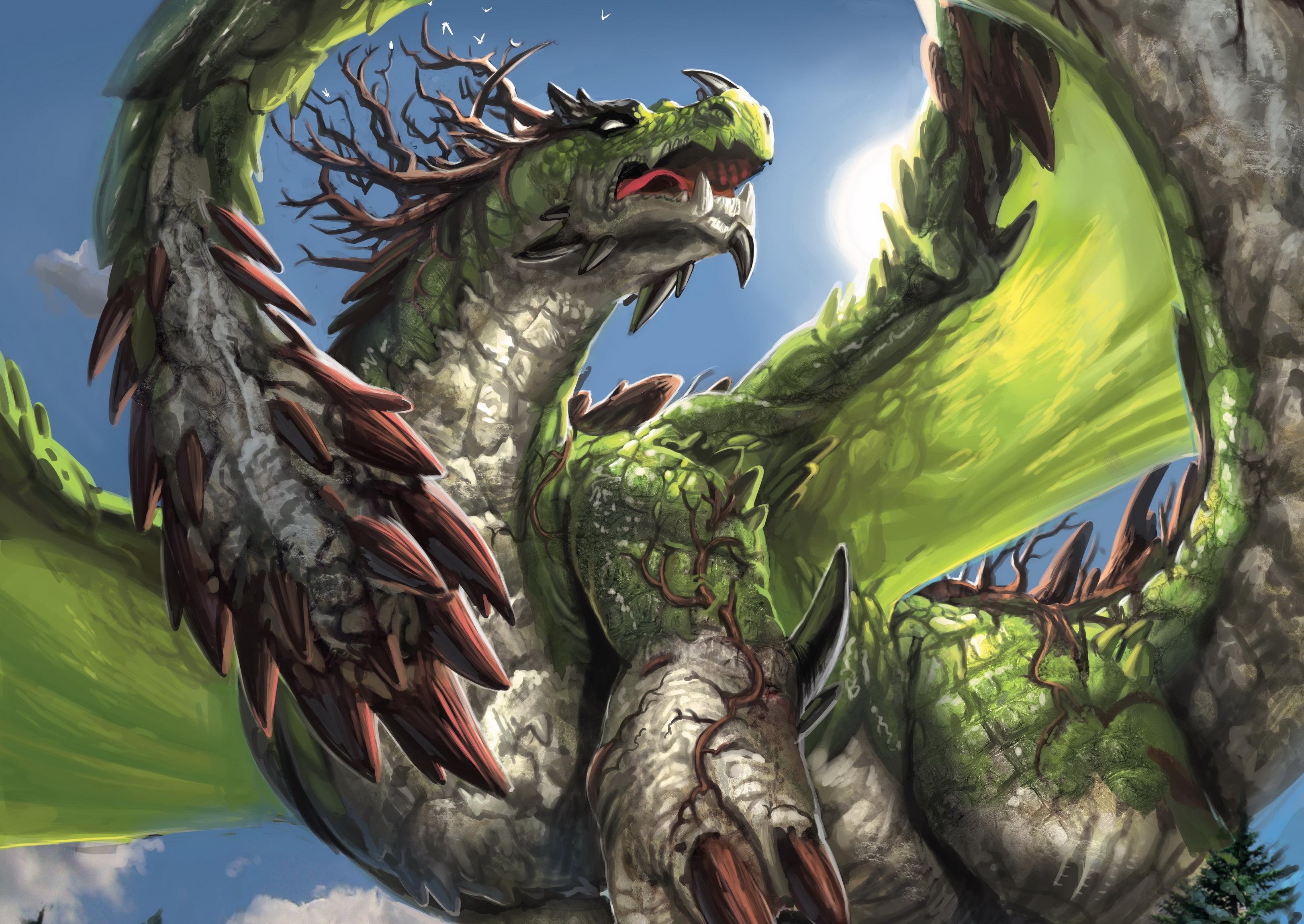 Нарисованый фэнтезийный зеленый дракон  № 3349256  скачать