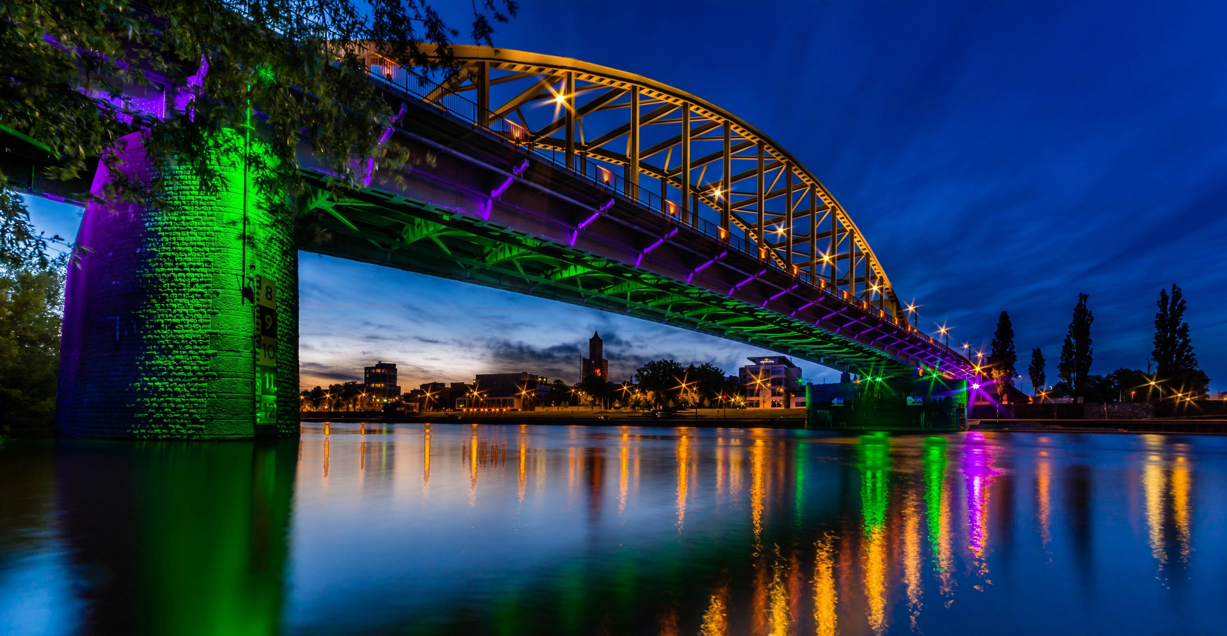 природа страны архитектура ночь река город мост  № 806720 загрузить