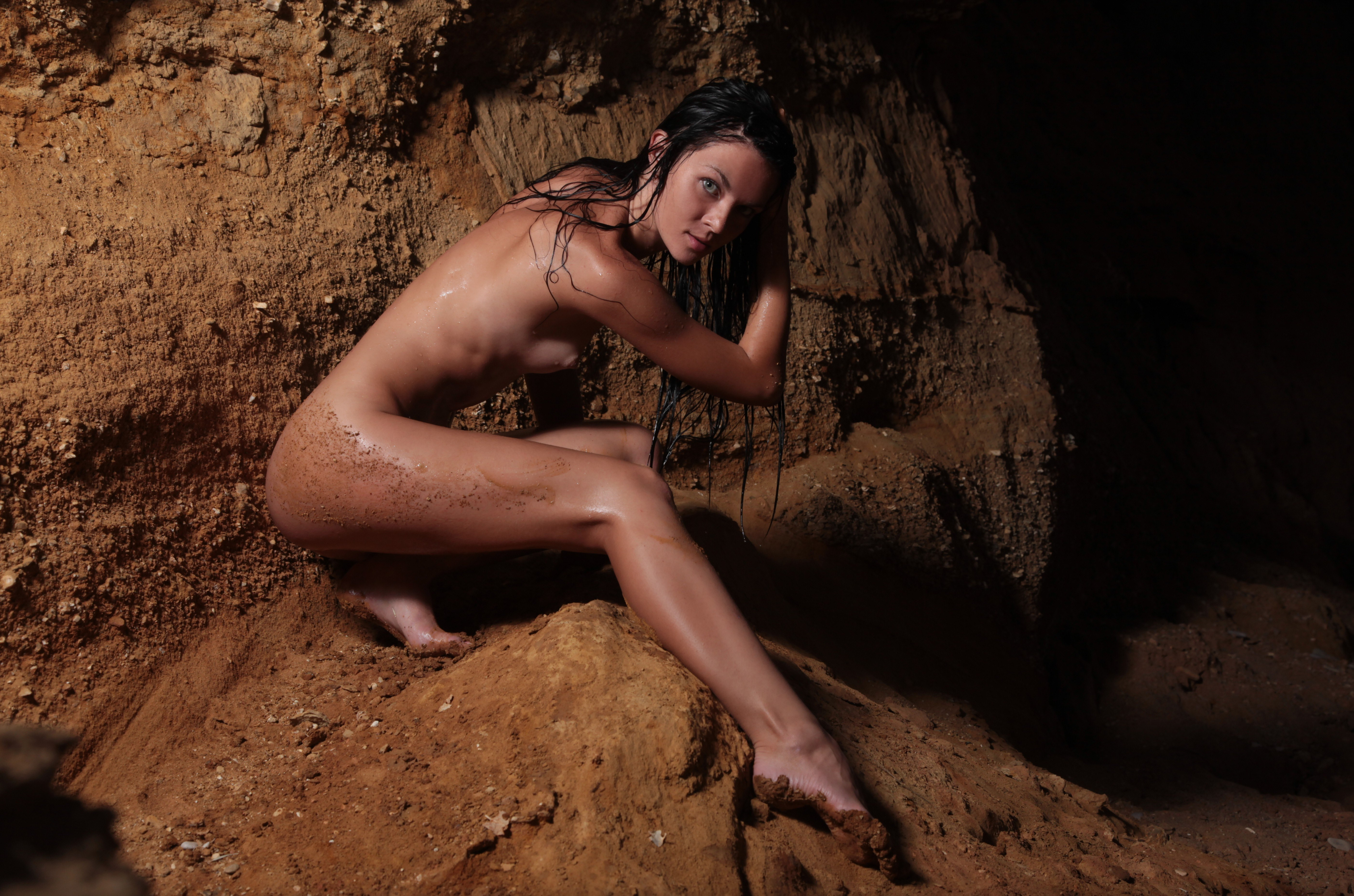 Swimming nude naked cave