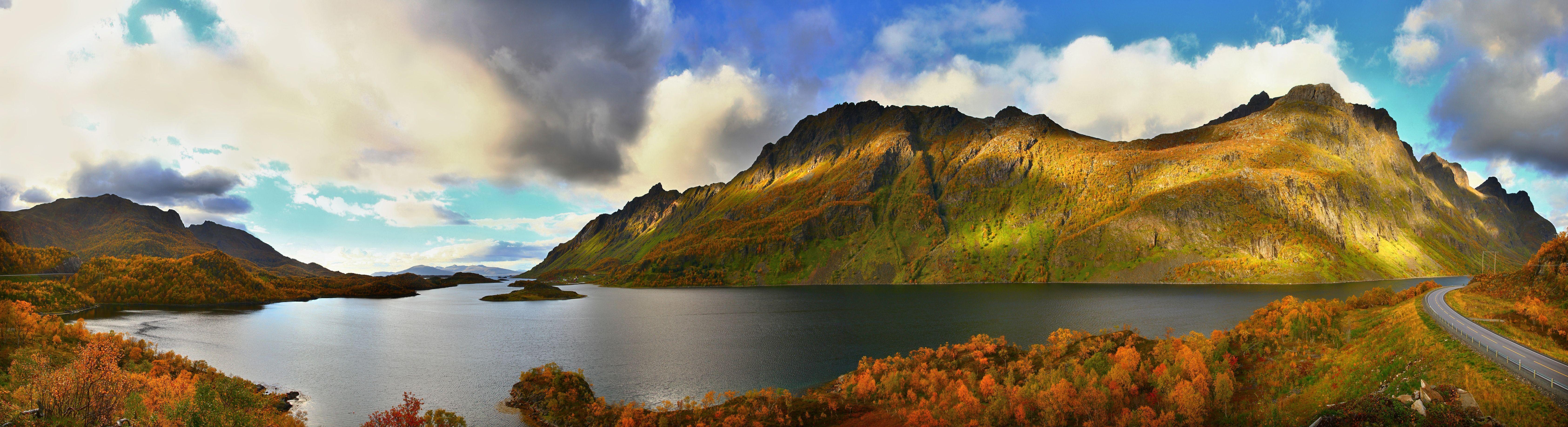 Озеро, горы, отражение, облака, панорама, пейзаж