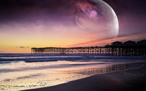 Фото обои песок, волны, пляж, закат, океан, планеты, Пирс