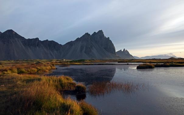 Фото обои трава, горы, озеро, утро