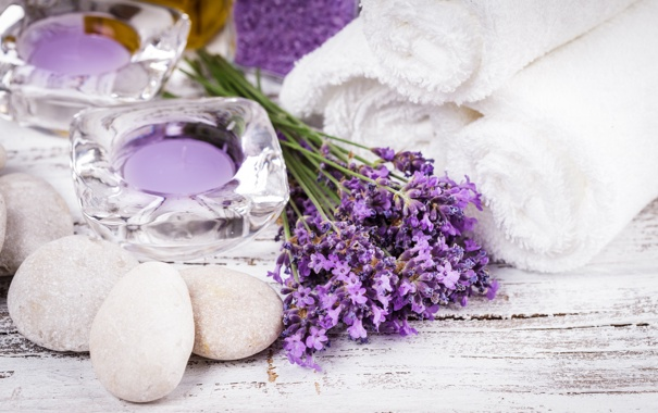Фото обои камни, полотенце, свечи, stones, candles, towel
