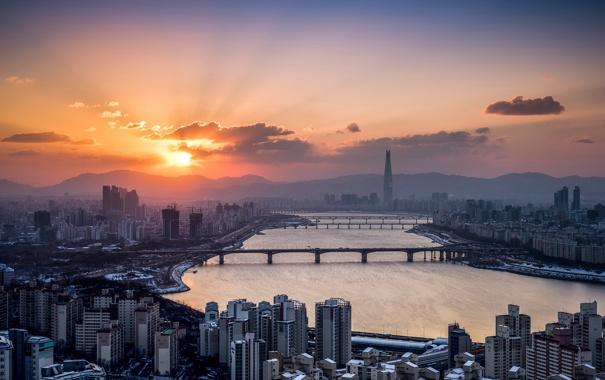 Фото обои Seoul, Han River, Lotte Tower, Winter Sunrise