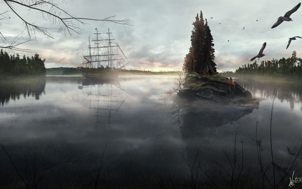Фото обои лес, озеро, корабль