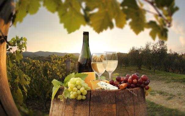 Фото обои вино, сыр, виноград, бочка