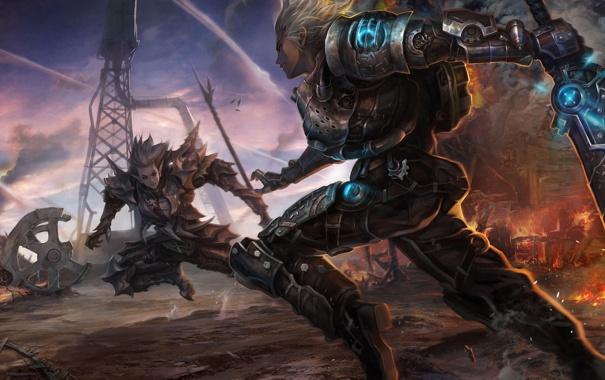 Фото обои трубы, оружие, огонь, завод, эльф, меч, арт