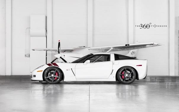 Фото обои Z06, Corvette, Chevrolet, ангар, white, шевроле, корвет