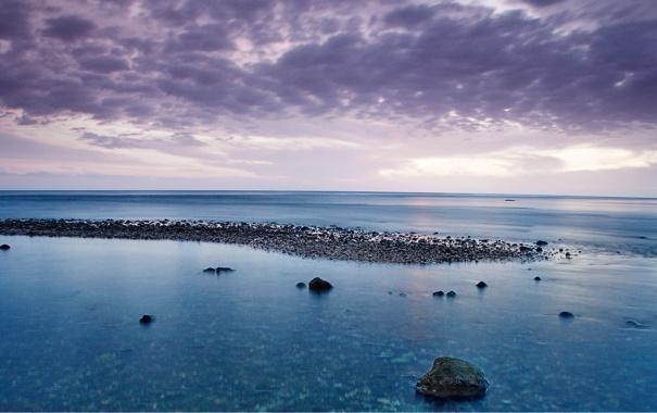 Фото обои море, небо, облака, камни, океан