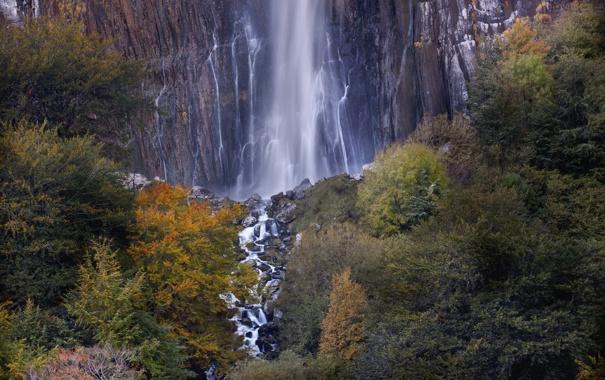 Фото обои осень, лес, деревья, гора, водопад