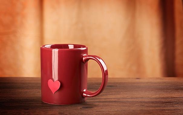 Фото обои сердце, кружка, чашка, красная, сердечко, нитка
