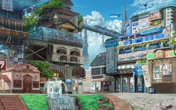 Фото обои пейзаж, город, метро, здания, арт, фонтан, eikura