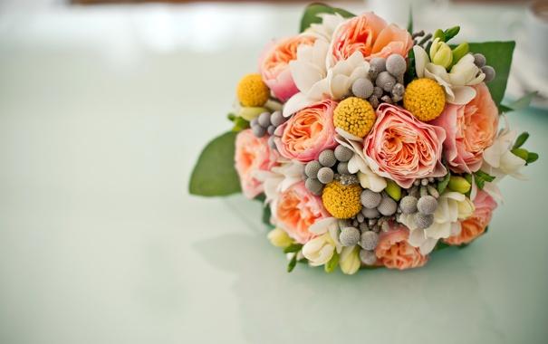 Фото обои цветы, розы, букет, свадьба, flowers, bouquet, roses