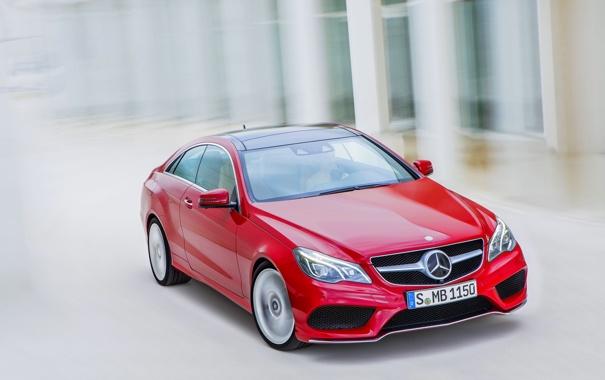 Фото обои Mercedes-Benz, Красный, Машина, coupe, e-class, Купэ, Передок