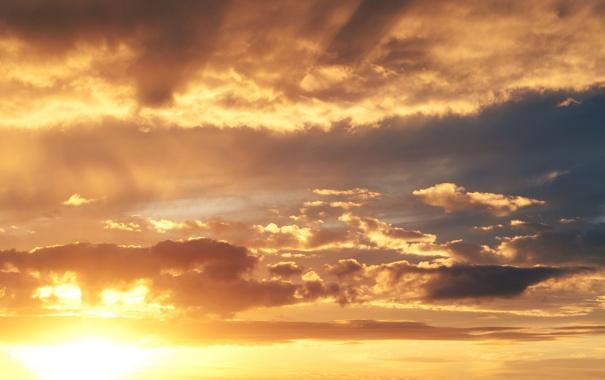 Фото обои облака, лучи, небо, солнце