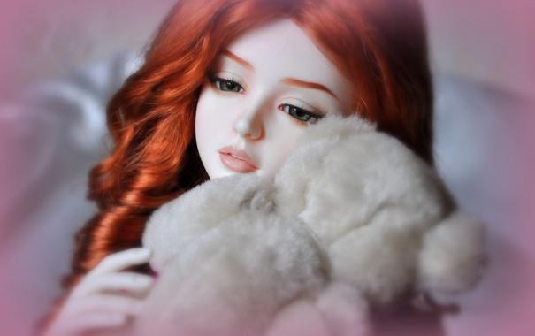 Фото обои взгляд, настроение, волосы, игрушка, кукла, мишка, рыжая