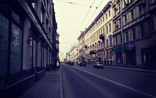 Фото обои машины, улица, проспект, Питер, Санкт-Петербург, Россия, Russia