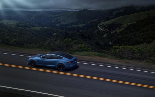 Фото обои Car, Blue, Speed, Tesla, Road, Rear, P85D