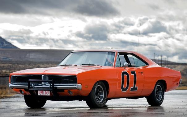 Фото обои оранжевый, Додж, 1969, Dodge, мускул кар, Charger, передок