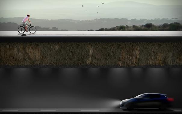 Фото обои машина, птицы, велосипед