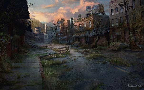 Фото обои город, арт, конец света, постапокалипсис, The Last of Us