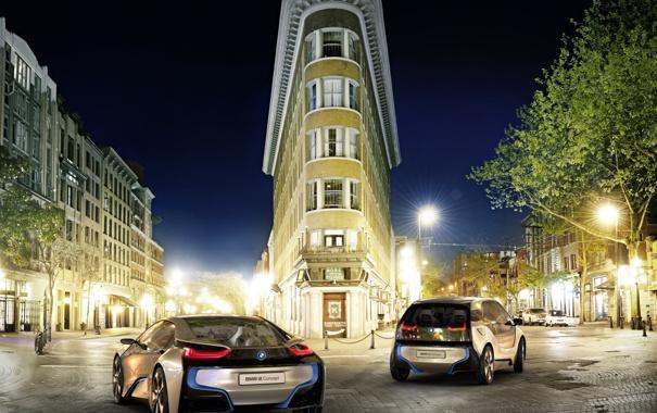Фото обои город, BMW, i8Concept, ночь, i3Concept, двое