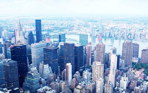 Фото обои Нью-Йорк, небоскребы, панорама, США, Манхэттен, мегаполис