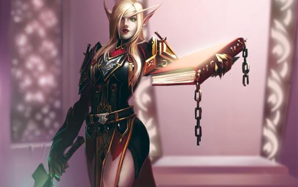 Фото обои оружие, меч, арт, книга, World of Warcraft, эльфийка, цепи