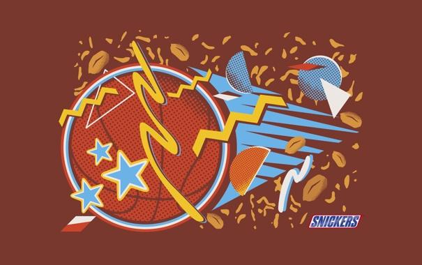 Фото обои мяч, шоколад, карамель, арахис, промо, сникерс, Snickers
