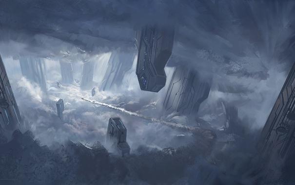 Фото обои облака, город, корабль, арт, колонны, Halo 4