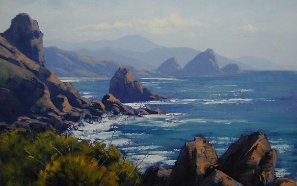 Фото обои море, деревья, камни, скалы, берег, арт, artsaus