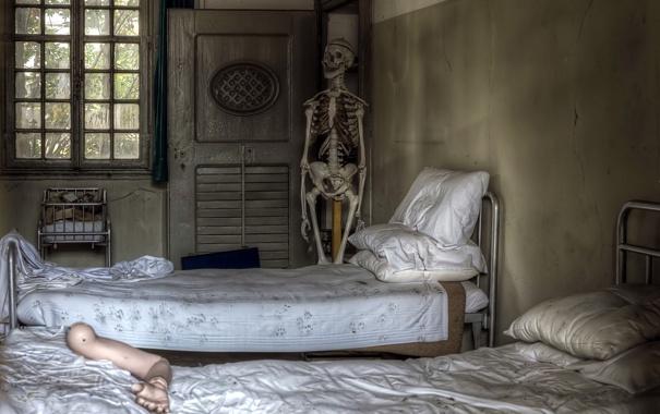 Фото обои интерьер, скелет, спальня