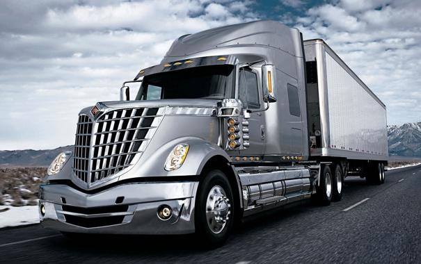 Фото обои дорога, небо, грузовик, International, track, тягач, трак