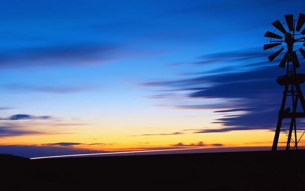 Фото обои небо, облака, закат, вечер, горизонт, метеозонд