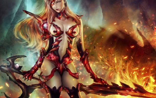 Фото обои девушка, огонь, меч, арт