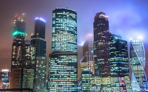 Фото обои здания, небоскреб, Москва-Сити, Moskow