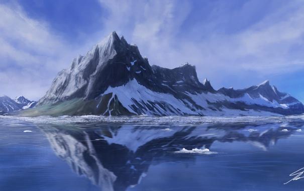 Фото обои холод, лед, снег, пейзаж, озеро, гладь, отражение