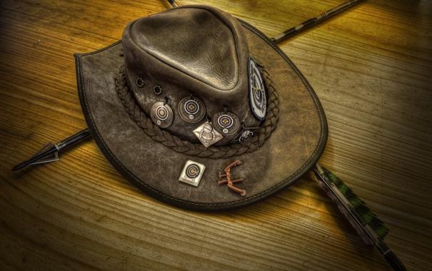 Фото обои стрелы, нашивки, дикий Запад, шляпа лучника, West stetson
